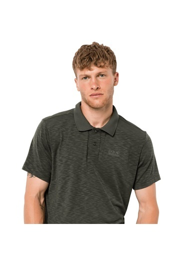 Jack Wolfskin Travel Polo Men Erkek T-Shirt - 1804542-5100 Haki
